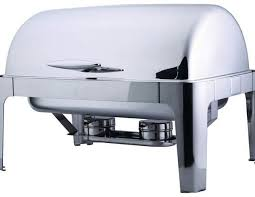 stainless steel rolltop chafer for rent in detroit